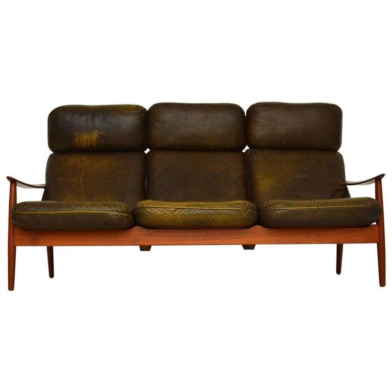 Danish Retro Teak And Leather Sofa By Arne Vodder Vintage