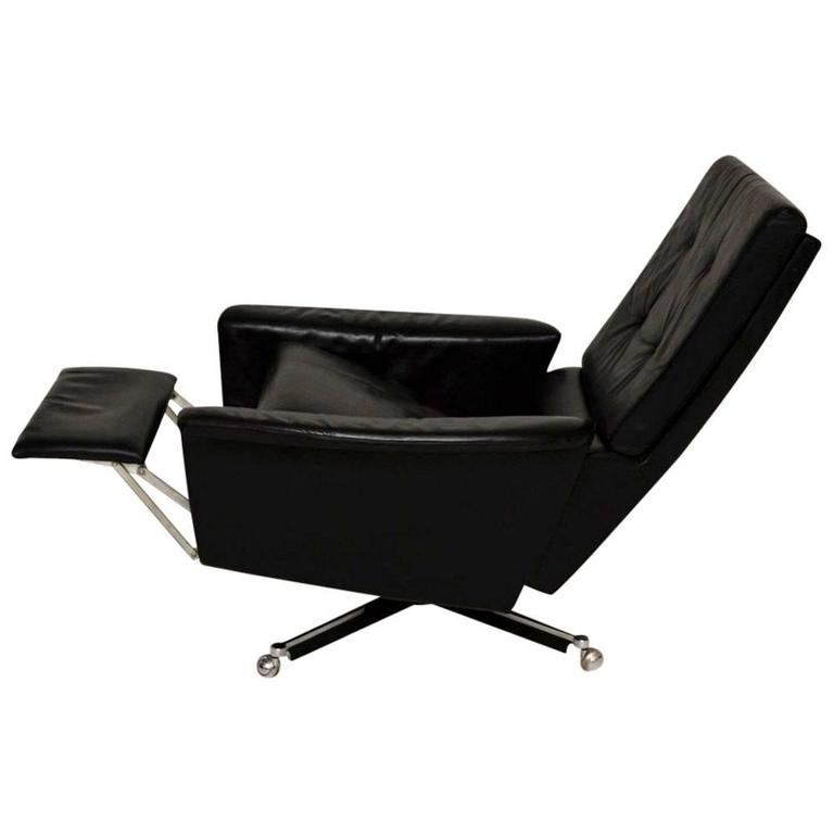 Retro Leather Swivel Reclining Armchair Vintage 1960s At 1stdibs