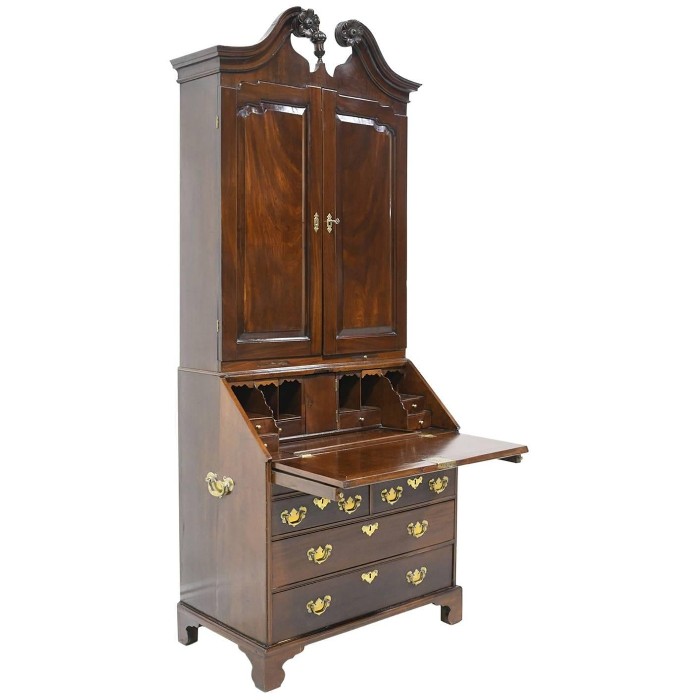Antique English George III Slant-Front Secretary w/ Bookcase in Cuban Mahogany