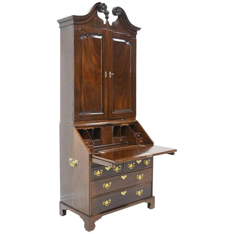 Antique English George III Slant-Front Secretary w/ Bookcase in Cuban Mahogany For Sale