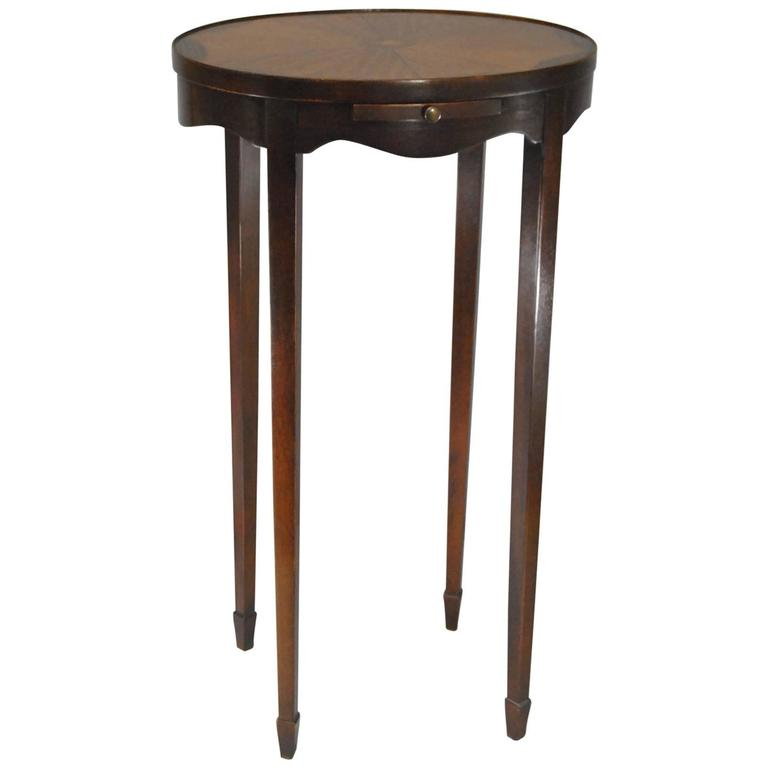 drexel oval inlay candle stand or side table with pull out