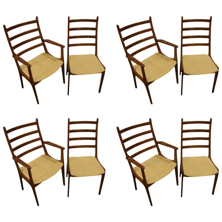 Kai christensen set of eight ladder back dining chairs for sale at 1stdibs - Ladder back dining room chairs ...