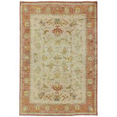 Vintage Spanish Rug with Coral and Ivory