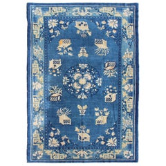 Antique Chinese Peking Rug in Blue colors