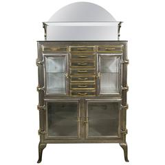 20th Century Dentist Cabinet in Brushed Iron and Brass
