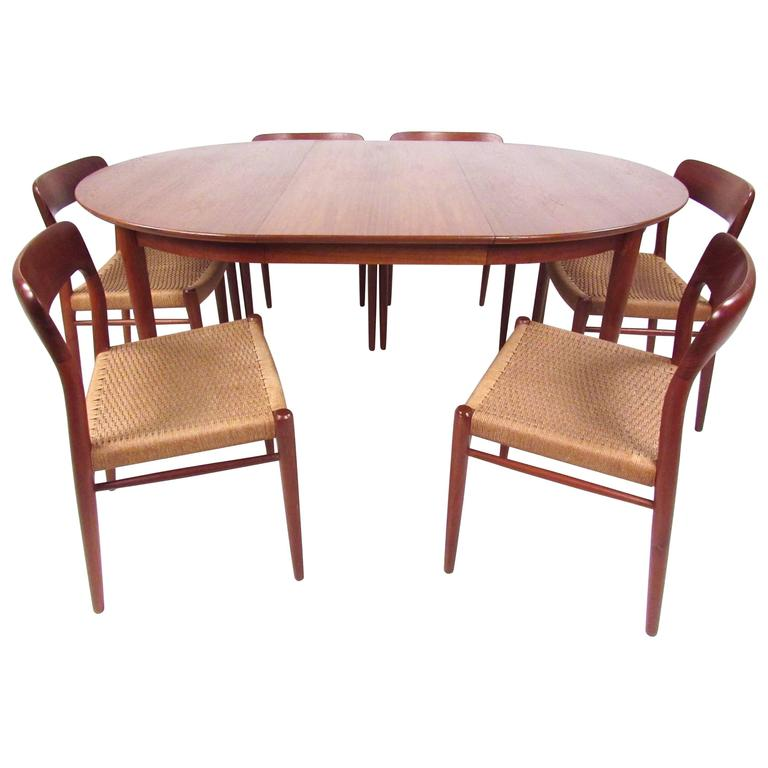 Teak Dining Table And Chairs: N.O. Moller Scandinavian Modern Teak Dining Table And