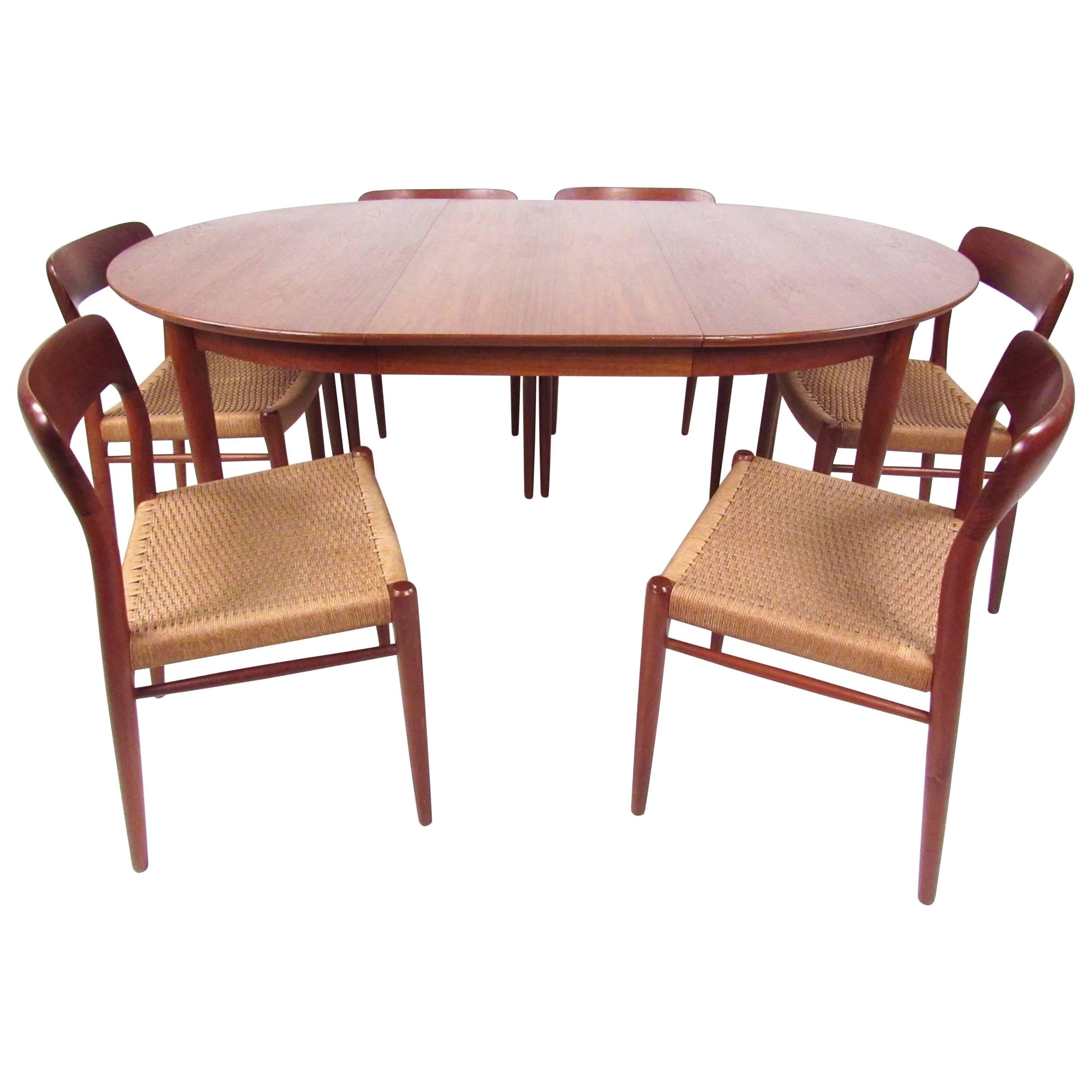 N.O. Møller Teak Dining Table With Papercord Chairs