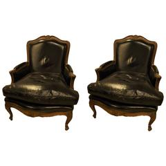 Pair of Bergère or Lounge Chairs in Louis XV Style Attributed to Maison Jansen