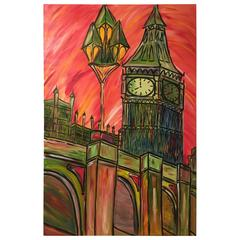 David Harper, London Capital Of Colour 'In Red' Large Original On Canvas
