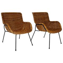 Mid Century Modern Vintage Brown Wicker Armchairs, Italy, 1950s