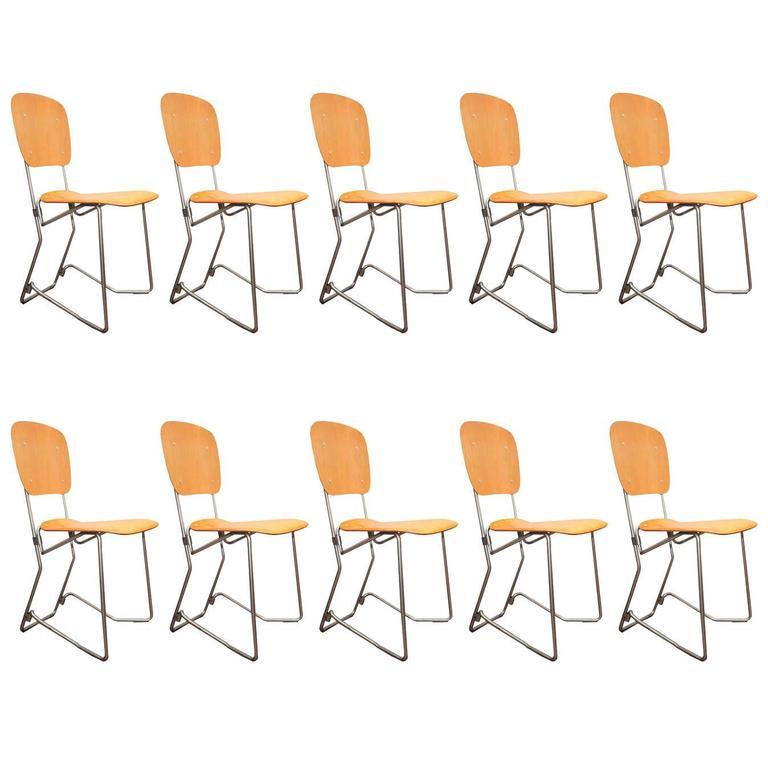 Set of Ten Armin Wirth Vintage Folding Chairs
