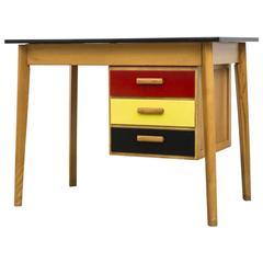 Pastoe Style Multicolored Drawer Desk