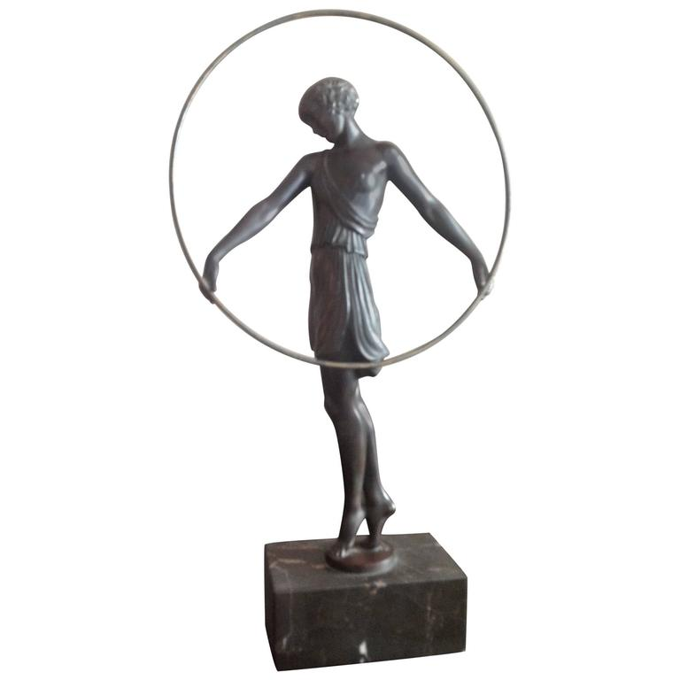 Girl with a Hoop, Art Deco Bronze by Fayral