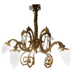 Bronze Louis XVI Chandelier with Eagle Heads and Lalique Style Globes