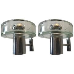 Pair of 1960s Seguso Murano Glass Wall Lights