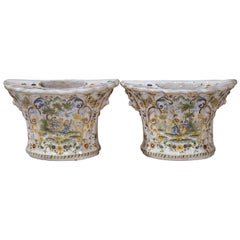 Pair of 18th Century French Hand Painted Faience Wall Bouquetières Vases