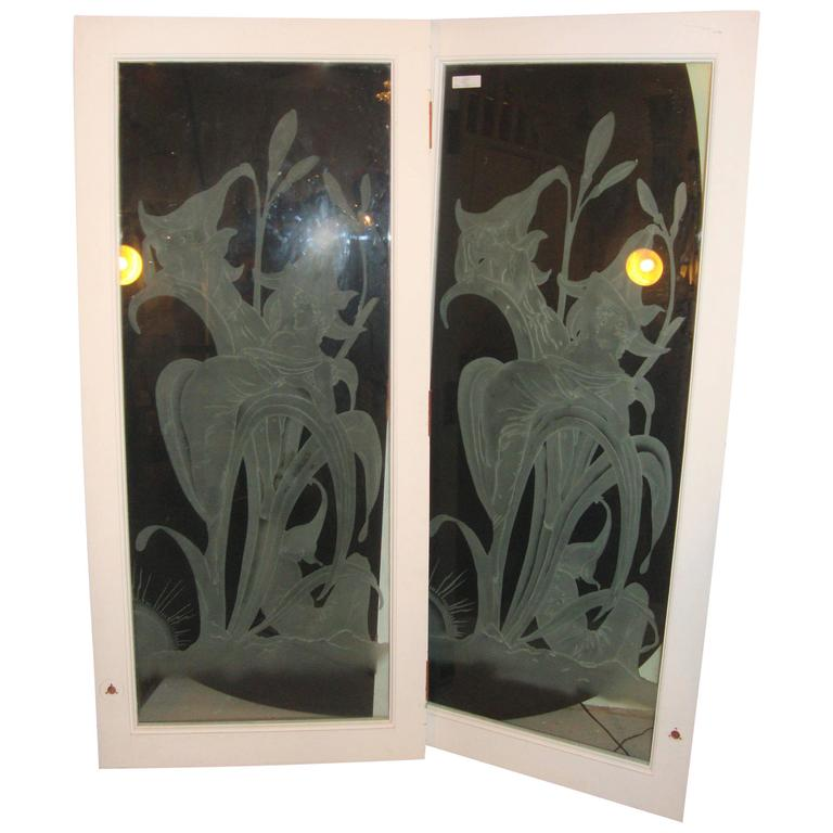 Pair of Art Deco Style Etched Glass Wall Decorations