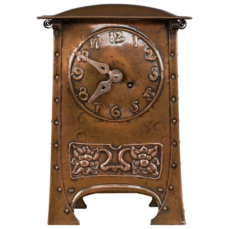 arts and crafts copper mantel clock circa 1890 for sale
