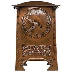 Arts and Crafts Copper Mantel Clock, circa 1890