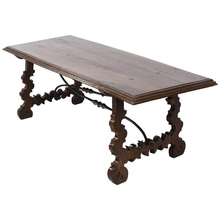 18th Century Spanish Table with Carved Trestle Base & Forged Iron Stretcher