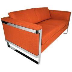 Milo Baughman Floating Chrome Sofa