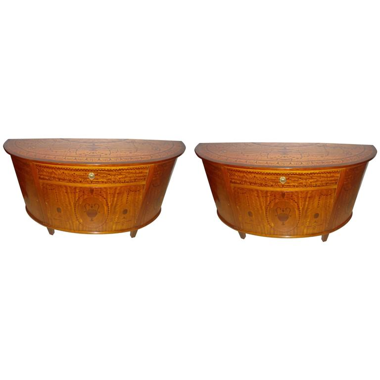 Pair of Adams Style Demilune Console Tables or Commodes