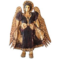 Mid-Century Danish Folk Art Angel Wall Sculpture