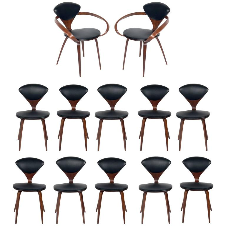 set of 12 sculptural dining chairs by norman cherner for plycraft 1