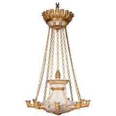 Spectacular Bronze and Painted Tole Chandelier