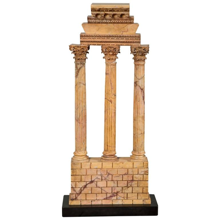 Large Carved Giallo Antico Grand Tour Model of the Temple of Castor and Pollux For Sale