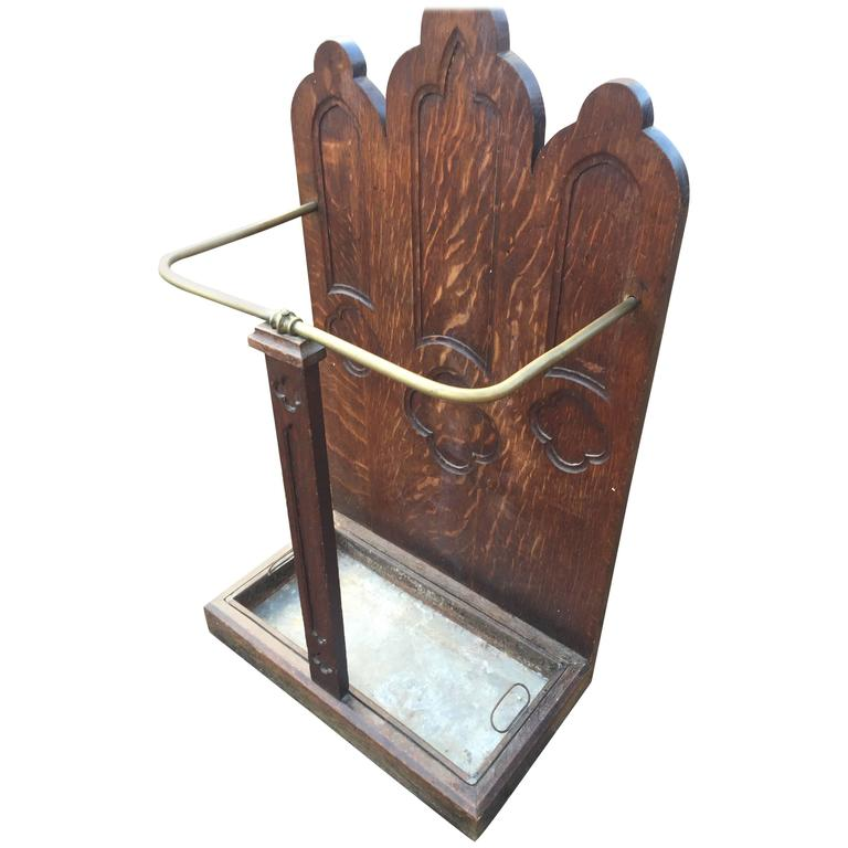 French Gothic Revival Carved Oak Umbrella Stand With Brass Rail Early 1900's