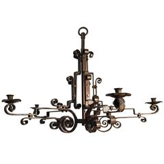 Mid-Century Symmetrical Wrought Iron 5 Arm Candles or Electrical Chandelier