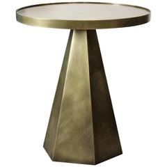 Sculptural Hand-Forged Hexagonal Side Table in Solid Patinated Brass