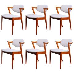Vintage Danish Teak Model 42 Dining Chairs by Kai Kristiansen