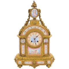 19th Century Pink 'Sevres' Porcelain Mantel Clock