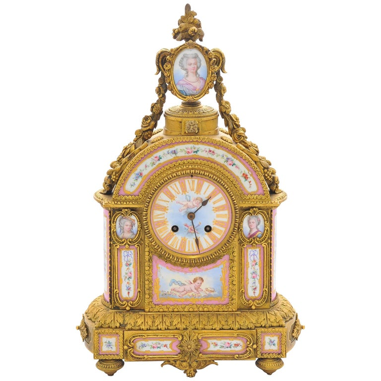 19th Century Pink 'Sevres' Porcelain Mantel Clock For Sale