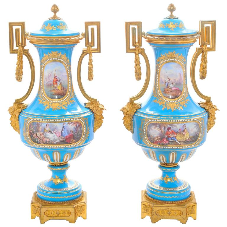 Pair Of 19th Century French Provincial Sever Vases For Sale At 1stdibs