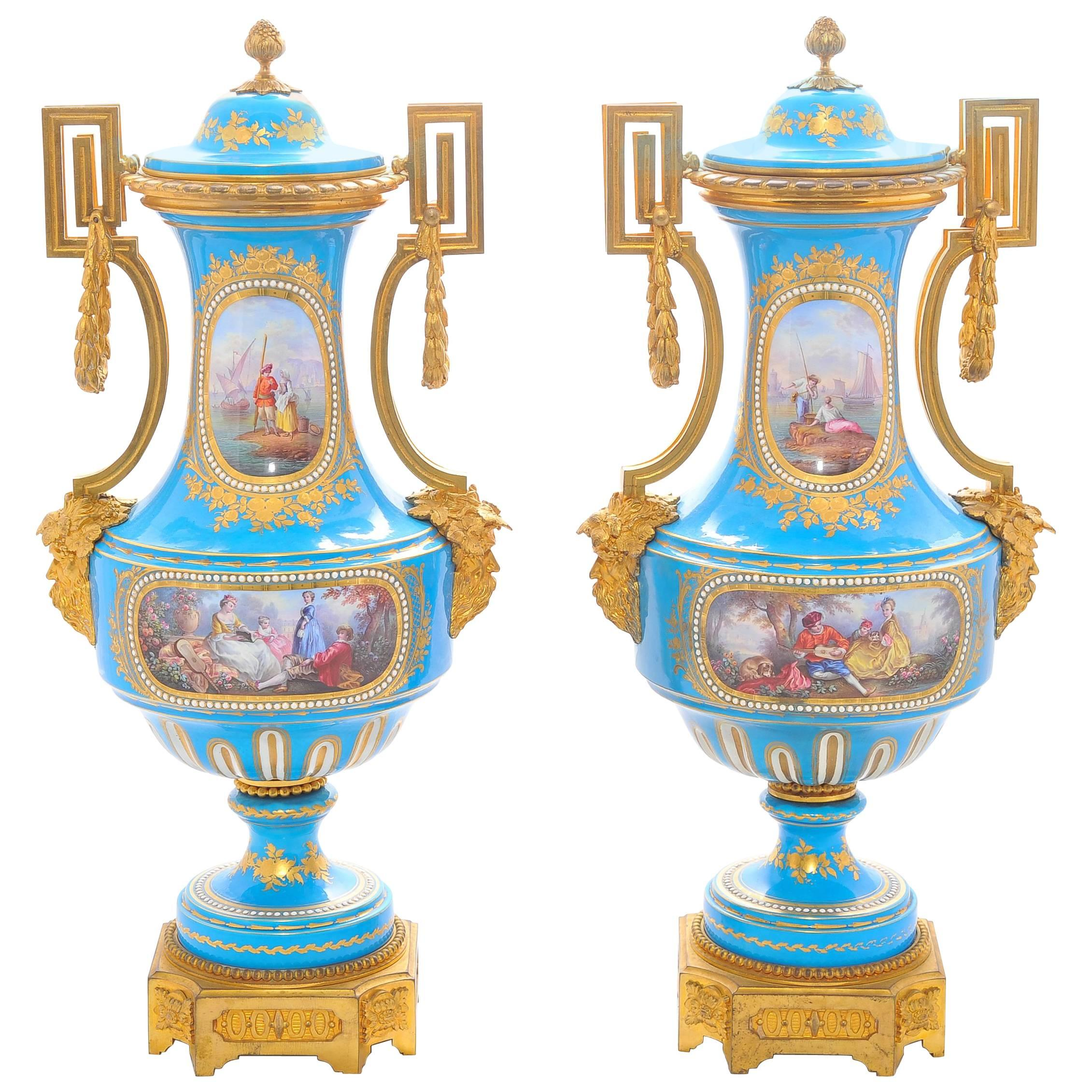 Pair of 19th Century 'Sevres' Classical Vases