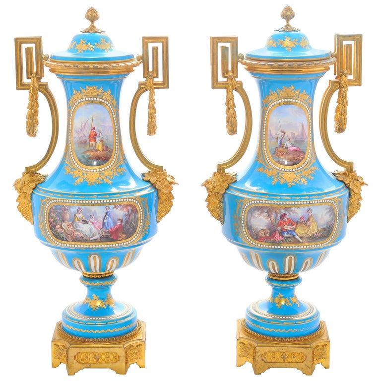 Pair of 19th Century 'Sevres' Classical Vases For Sale