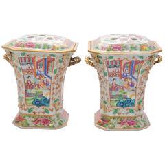 Pair of 19th Century Canton/ Rose Medallion Flower Vases