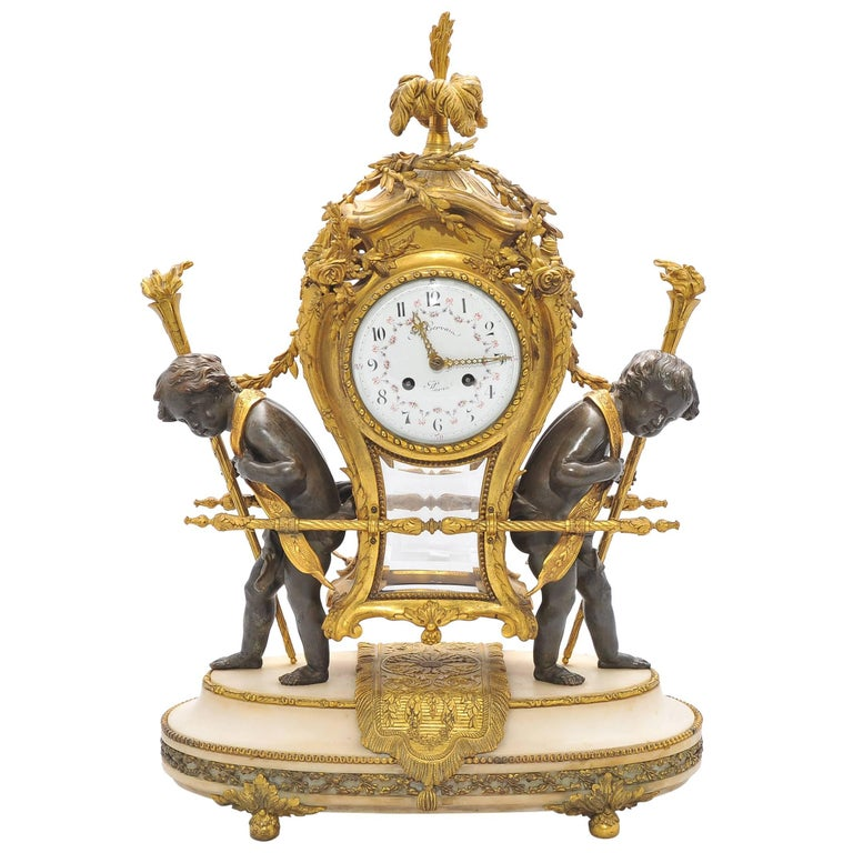 Large 19th Century French Mantel Clock by Gervais For Sale