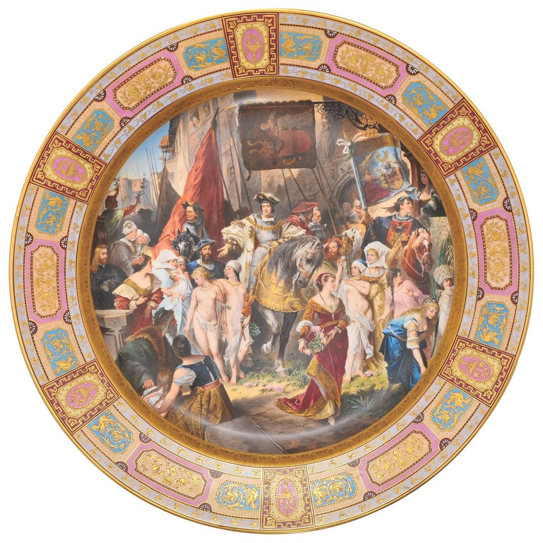 Large Vienna Porcelain Charger, 19th Century For Sale