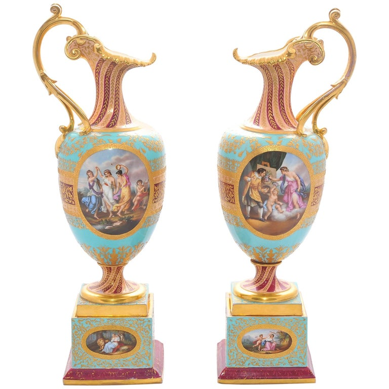 Pair of 19th Century Vienna Porcelain Ewers For Sale