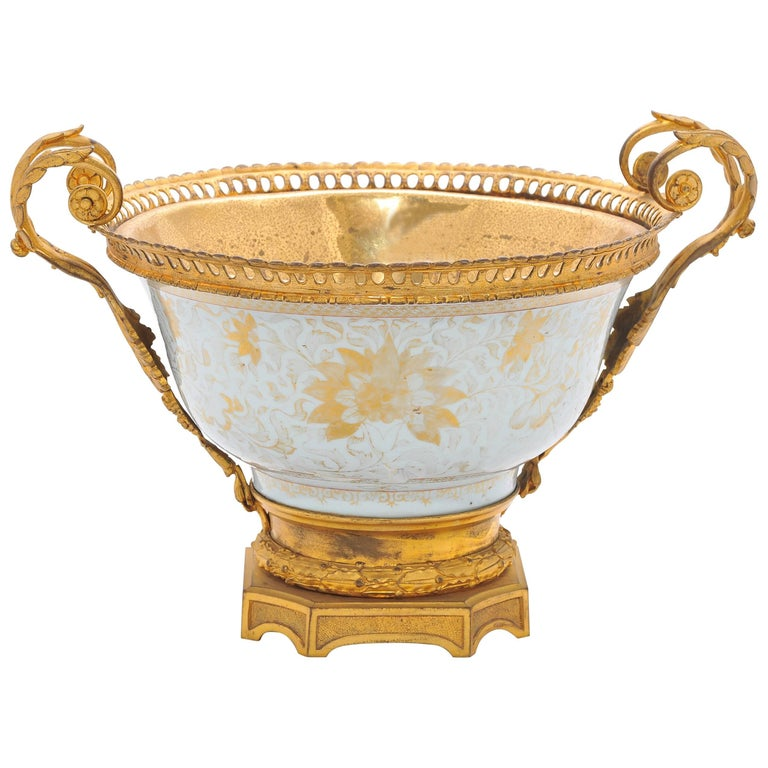 18th Century Chinese Export Ormolu Mounted Bowl For Sale