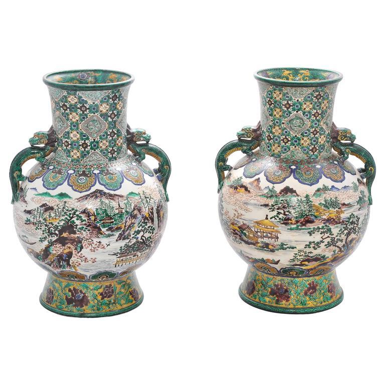 Large Pair of 19th Century Kutani Vases