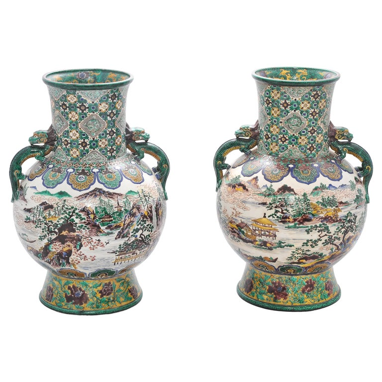 Large Pair of 19th Century Kutani Vases For Sale