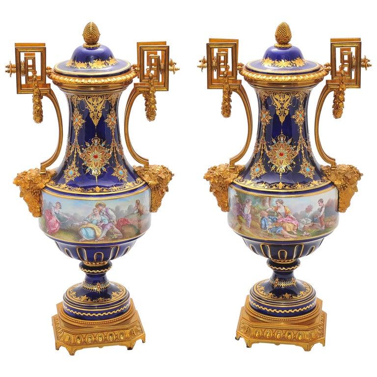 Pair of Antique Sèvres Vases For Sale