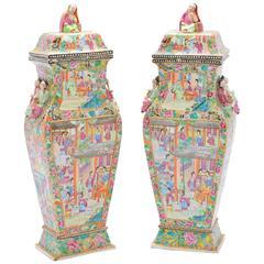 Pair of 19th Century Lidded Canton / Rose Medallion Vases