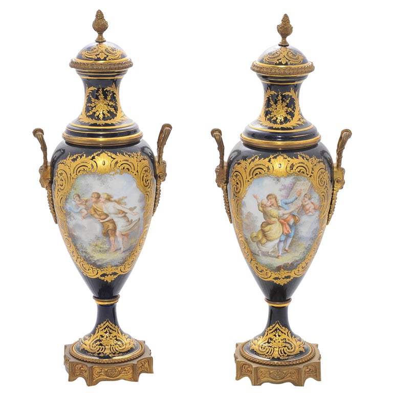 Pair of 19th Century Sevres Lidded Vases For Sale