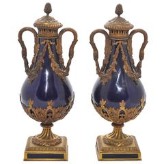 Pair of 19th Century Sèvres Blue, Ormolu Vases